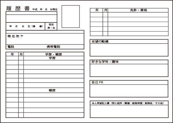 履歴書の項目