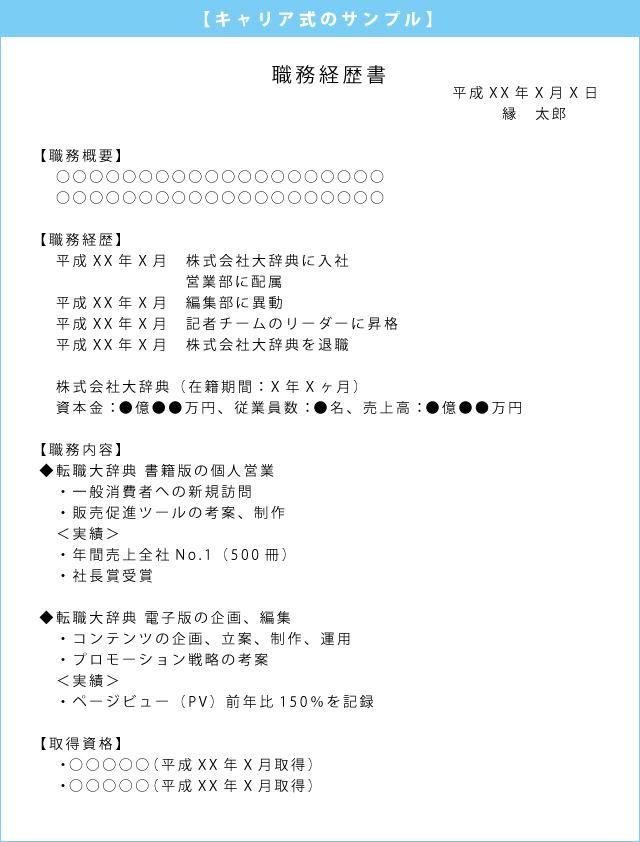 職務経歴書キャリア式